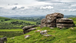Bagga Tor with Bodmin Moor in the far distance
